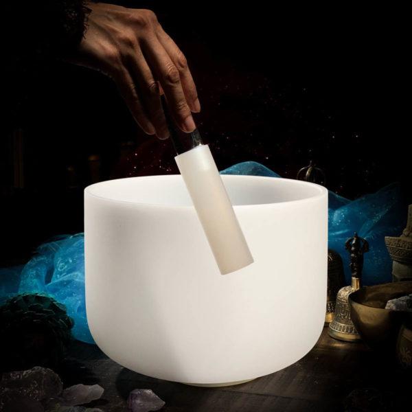 Silicone striker mallet with heavy quartz crystal handle