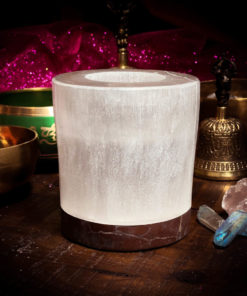 "Selenite and Orthoceras Fossil Candle Holder 5"" x 5"""