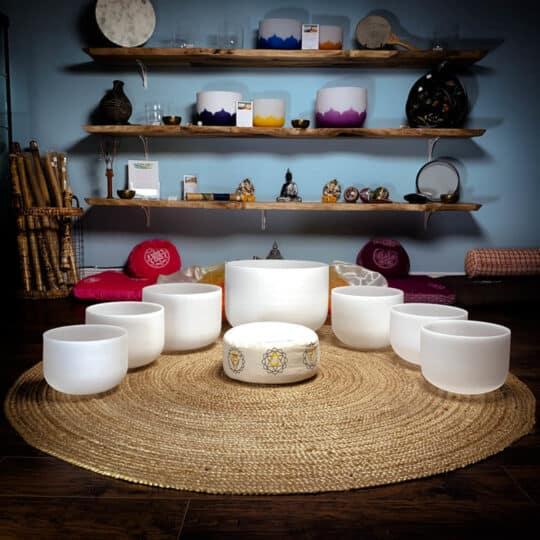 seven-bowl crystal singing bowl set
