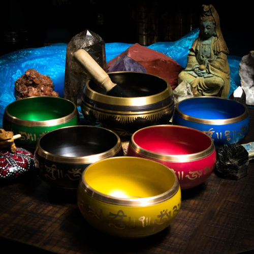 MACHINE MADE COLORED 5 INCH METAL SINGING BOWLS