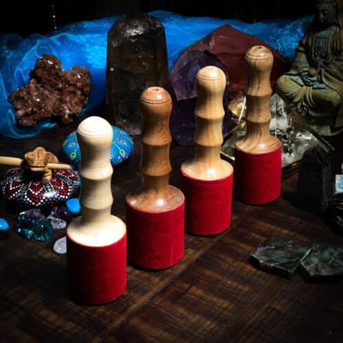 Tibetan Singing Bowl Heavy Mallet Red Velvet and wood