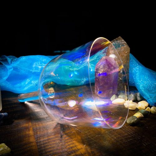 Rainbow handle crystal alchemy singing bowl
