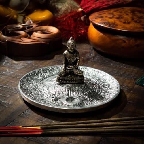 Metal Incense Burner with Buddha Figurine