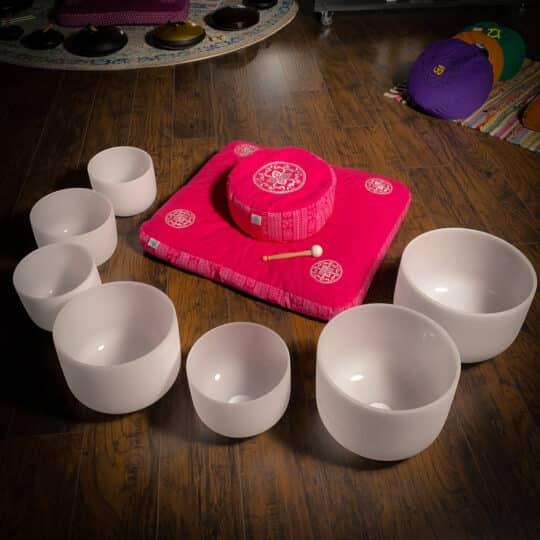 pink zafu zabuton meditation pillow set