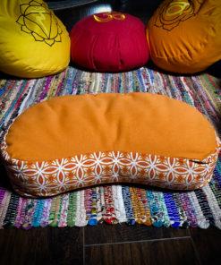 Orange crescent flower of life zafu meditation pillow