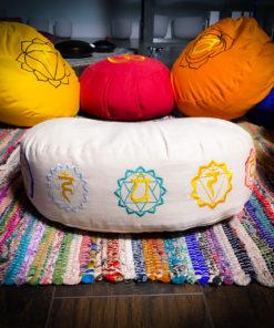 White crescent zafu meditation pillow