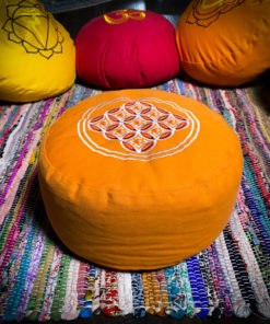 Orange Flower of Life Zafu Meditation Pillow