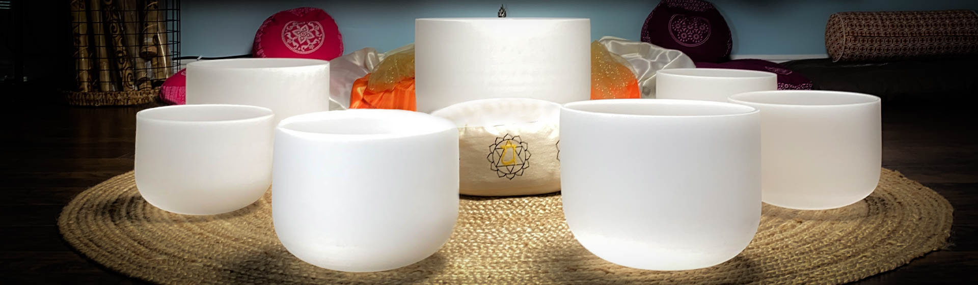 Crystal Singing Bowls Chakra Set Banner Image The OM SHoppe