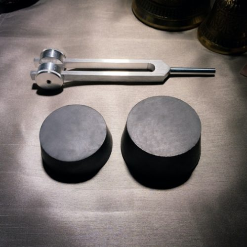 small and large black tuning fork activators with weighted tuning fork