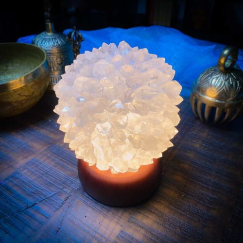 Quartz Crystal Lamp at The OM Shoppe Glowing