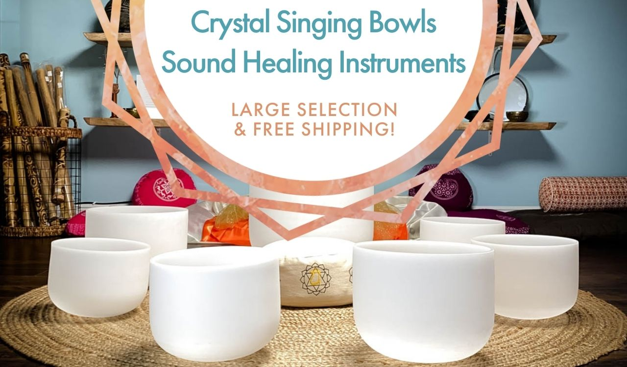 Crystal Singing Bowls in a circle: Premium Crystal Singing Bowls and Sound Healing Instruments. Large Selection & Free Shipping!