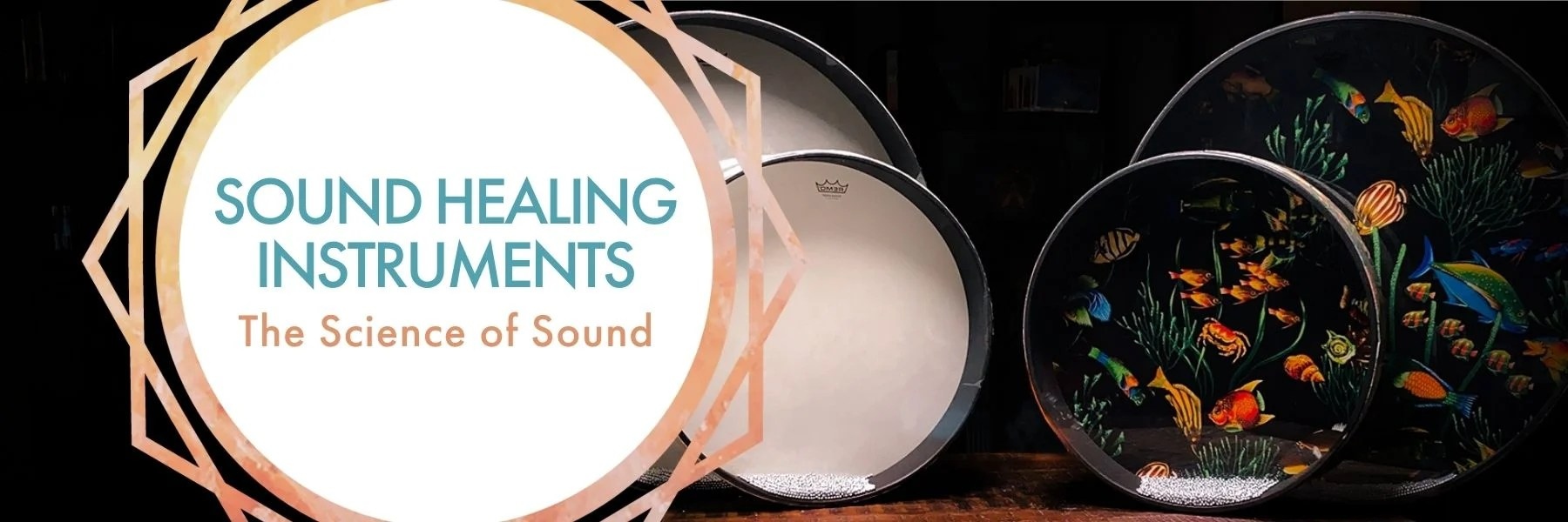 ound Healing Instruments: The Science of Sound; colorful and white ocean drums on black backdrop