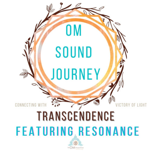 geometric circle with the words om sound journey trancendence featuring resonance an hour long sound journey for digitial download