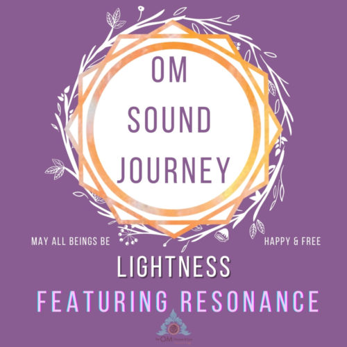 Purple background with orange geometric symbols saying Om sound journey lightness featuring resoance album cover for the om shoppe sound journey