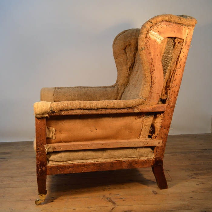 LATE 19th CENTURY ENGLISH ARMCHAIR INCL UPHOLSTERY A020