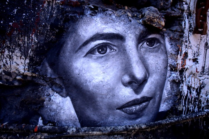 Simone De Beauvoir, painted portrait- ©thierry ehrmann-https://www.flickr.com/photos/home_of_chaos/9334876056