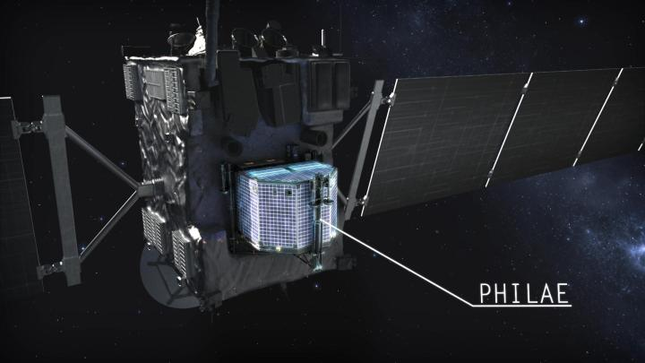 Rosetta mit Philae - ©DLR German Aerospace - http://www.flickr.com/photos/dlr_de/11963777196/