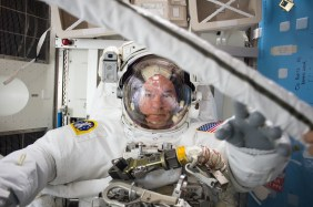 ISS-48 Jeffrey Williams during spacesuit check for EVA-1