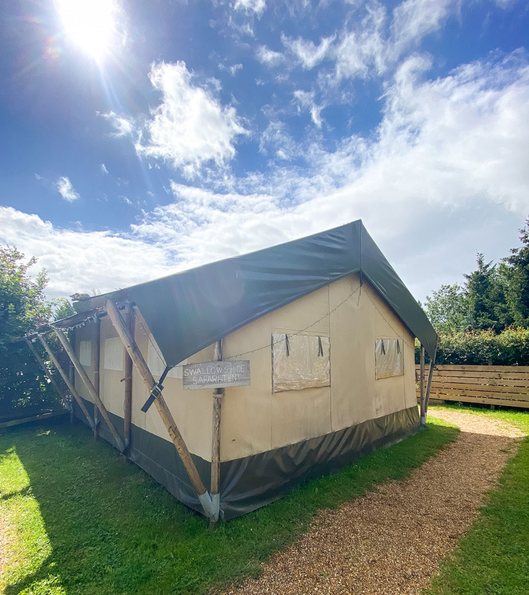 Swallows Hide Safari Tent at Sumners Ponds Lakes and Capsite in West Sussex