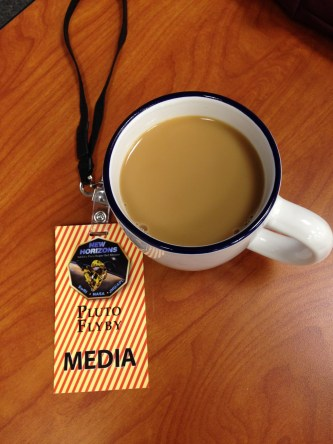 All a reporter needs to cover a planetary flyby, at the Johns Hopkins University Applied Physics Laboratory.