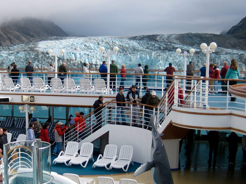 View of an Alaskan glacier from a cruise ship, a major bucket list goal for many.
