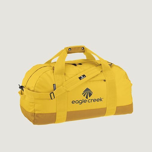 African safari packing tips include choosing a lightweight yellow Eagle Creek duffel bag.
