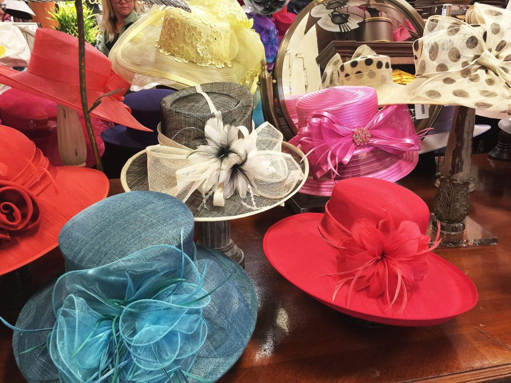 shopping is a great thing to do in Saratoga Springs - ladies elegant hats