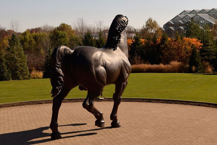 Giant horse sculpture at Meijer Gardens in Grand Rapids, Michigan, a great place to visit