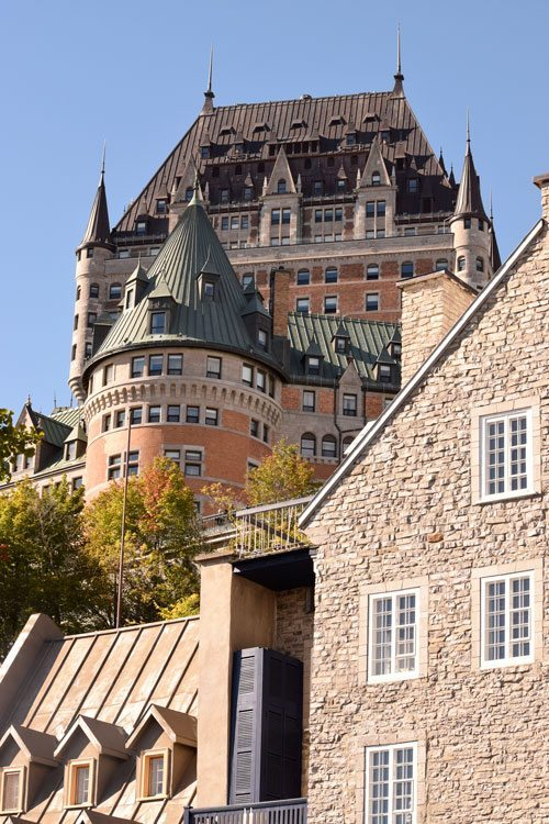 Le Chateau Frontenac towers over Quebec City, a super easy international destination to visit