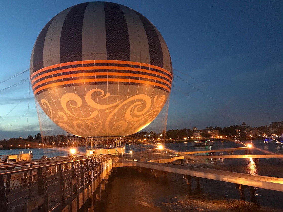 What to see at Disney Springs include a hot air balloon for tethered rides and Disney Springs is free.