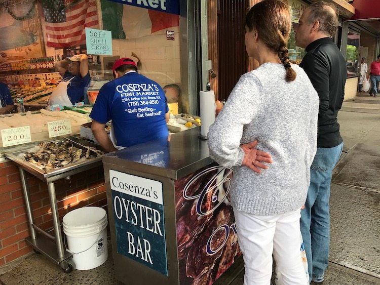 Sidewalk oyster stand on Arthur Avenue New York's Real Little Italy.