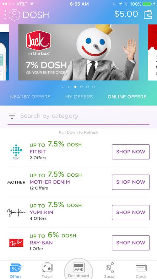 DOSH cash back app online offers