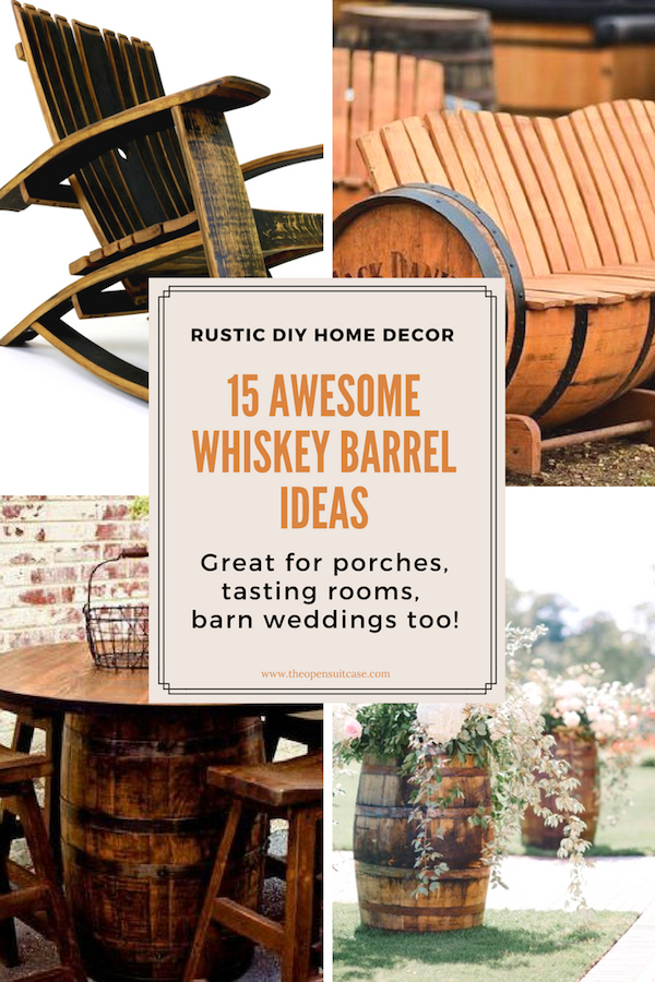 collage of whiskey barrel project ideas