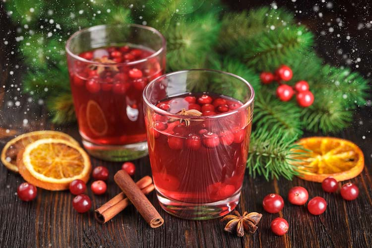 two tumblers with holiday cocktails and cranberries for entertaining