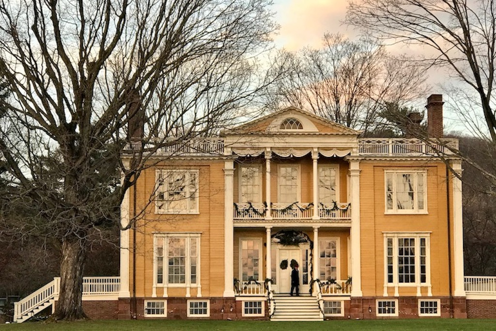 facade of Boscobel, a Hudson Valley mansion with holiday twilight tours