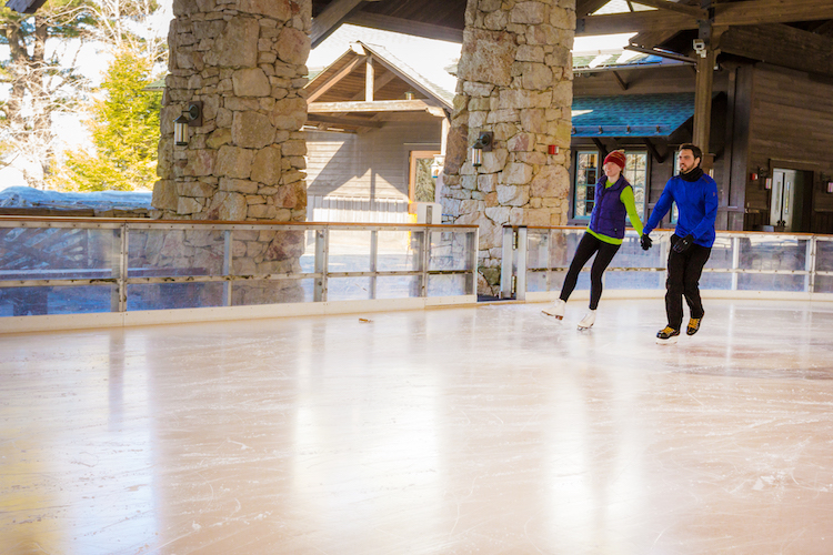 couple ice skating at the Mohonk Mountain House in the Hudson Valley