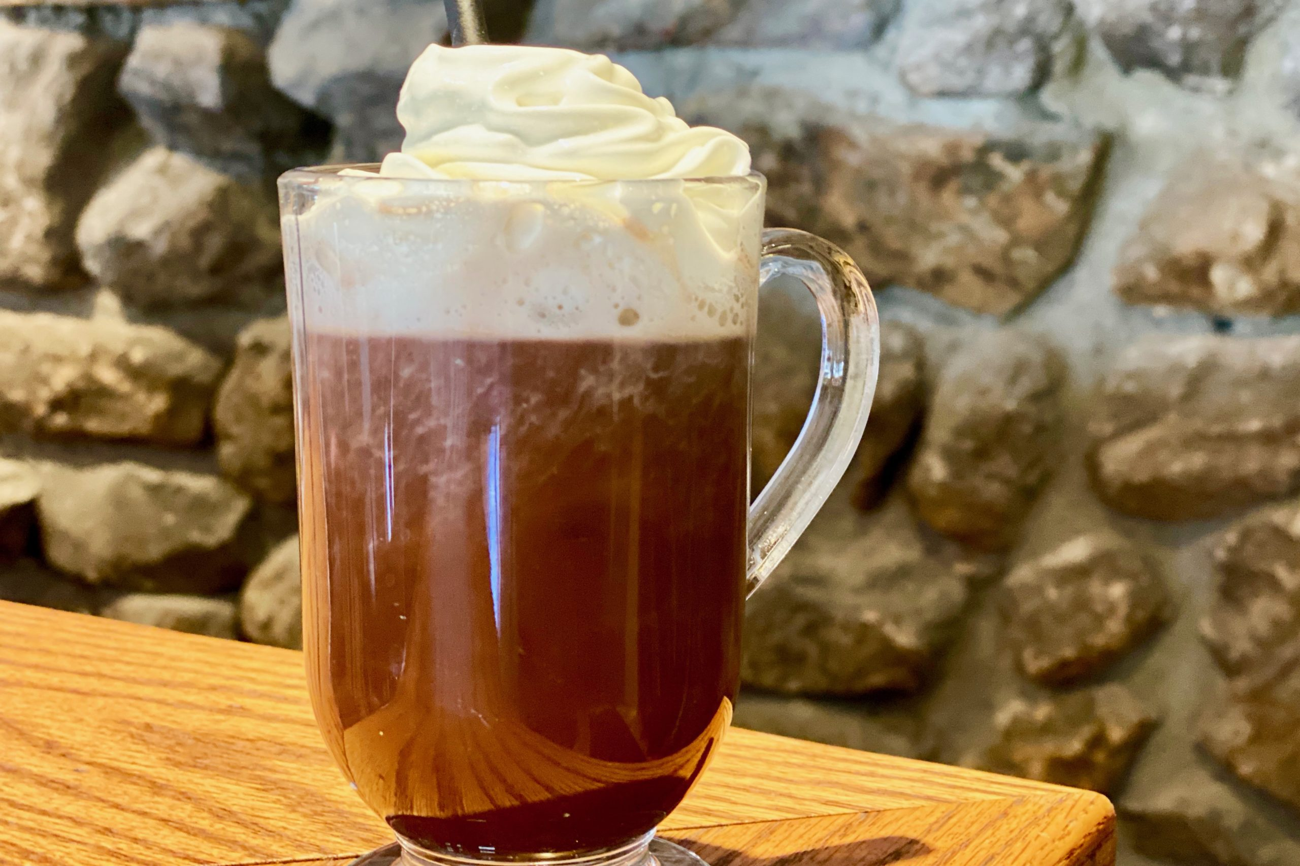 glass mug of hot chocolate served in the Hudson Valley restaurant at the Bear Mountain Inn