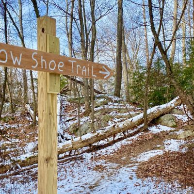 Pelton Pond snowshoe trail is a beautiful winter hike in NY's Hudson Valley