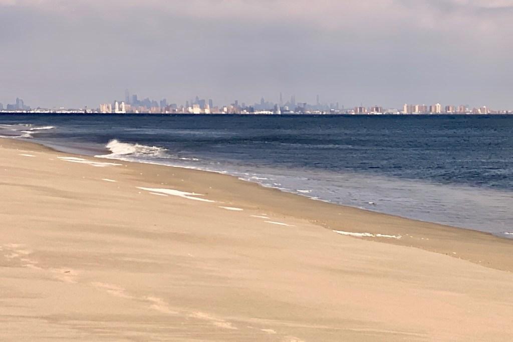 NYC skyline view from Sandy Hook beach.