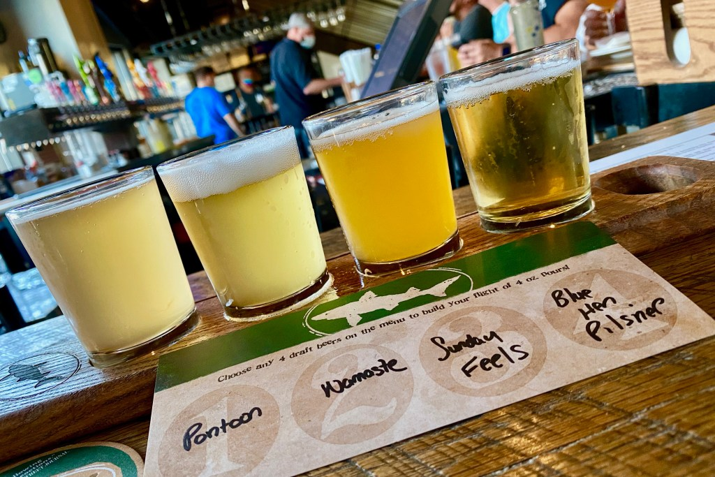 Flight of beers at Dogfish Head Brewery, one of the best things to do in Delaware