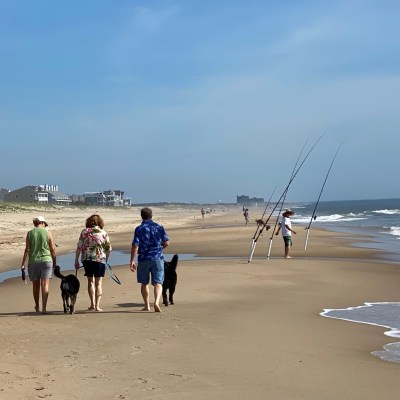 family walking with dogs on beach, one of the fun things to do in Delaware