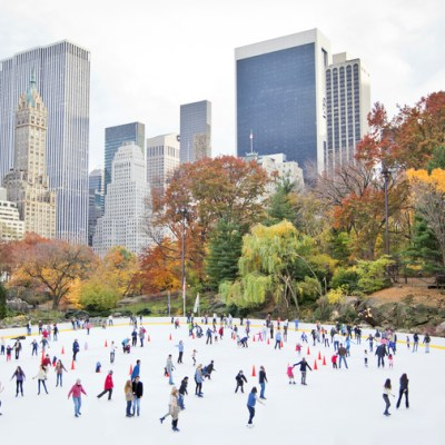 Aerial view of Central Park's Wollman Rink with ice skaters in NYC
