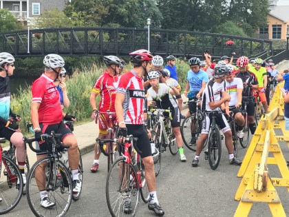 Cyclists line up for the 50 Mile Ride