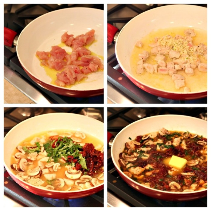 A series of four photos showing chicken cooking in a pan, garlic, herbs and mushrooms simmering in preparation for making Linguini with Chicken and Goat Cheese