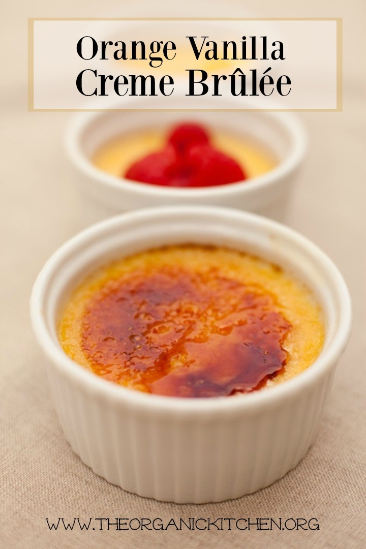 Orange Vanilla Creme Brûlée in white ramekins