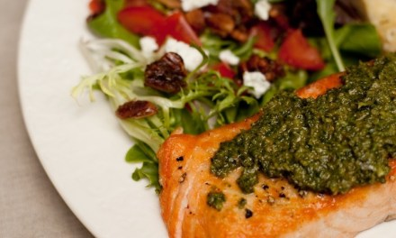 Pesto Salmon with Greens and Crispy Parmesan Bread ~ Casual Friday