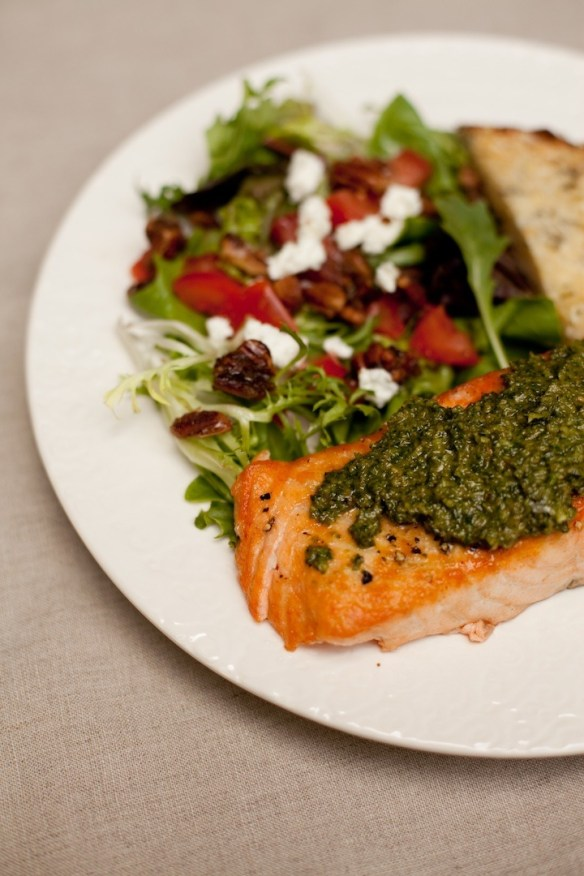 Easy Salmon Pesto with Simple Greens and Crispy Parmesan Bread