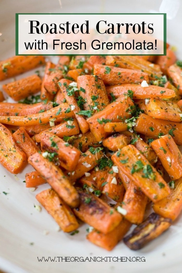 A large white bowl filled with Roasted Carrots and Gremolata