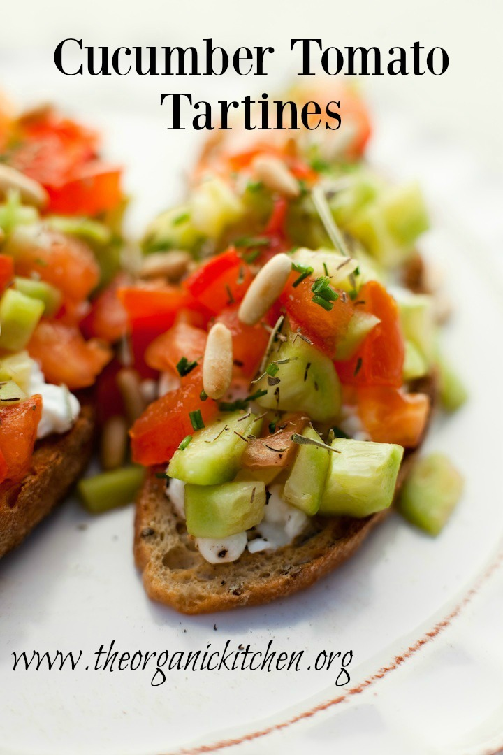Two Cucumber Tomato Tartines  on a white plate
