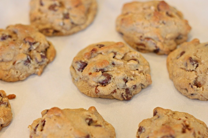 Chocolate Chip Oatmeal Cookies with Orange Glaze fresh out of the oven